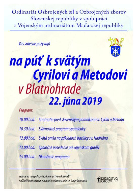 9b9fa8891 Ordinariát ozbrojených síl a Ozbrojených zborov Slovenskej republiky v  spolupráci s Vojenským ordinariátom Maďarskej republiky Vás pozýva 22. júna  2019 na ...